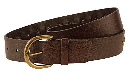 [Ralph Lauren Women's 1-5/8-in Woven Leather Belt with Antique Brass Buckle and Studs, Brown (Medium)] (Lauren Ralph Lauren Leather C Buckle Belt)