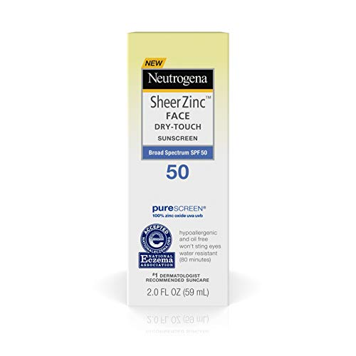 Neutrogena Sheer Zinc Oxide Dry-Touch Face Sunscreen with Broad Spectrum SPF 50, Oil-Free, Non-Comedogenic & Non-Greasy Mineral Sunscreen, 2 fl. -