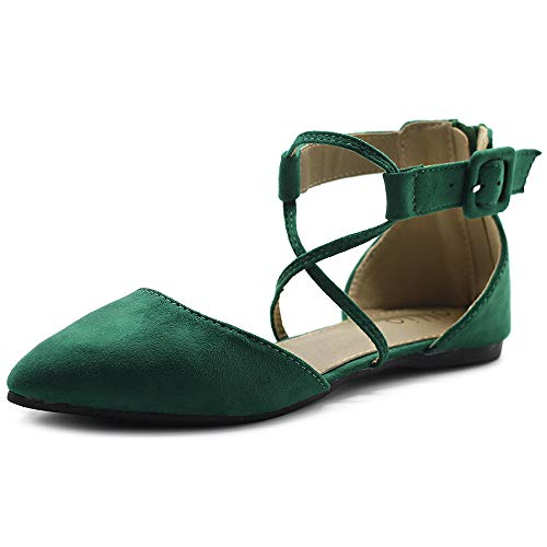 Ollio Women's Shoes Faux Suede Cross Strappy Ankle Strap Pointed Toe Zip Up Ballet Flats F88 (10 B(M) US, Green)]()