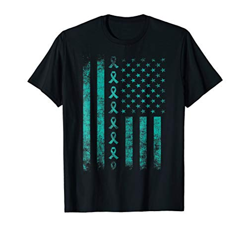 - ovarian cancer awareness teal ribbon us flag t shirt