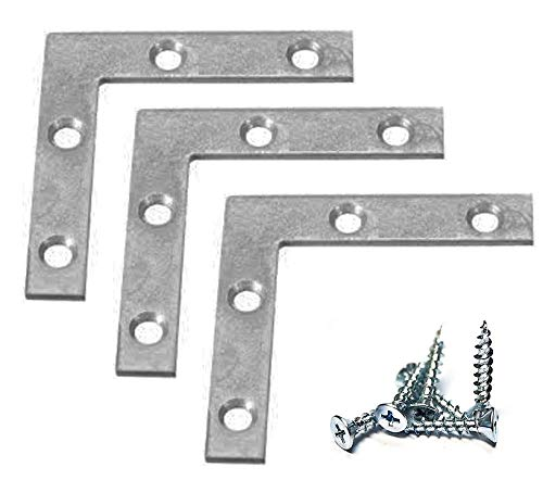 "Extra Heavy Duty 12 Pack L Type Flat Zinc Plated Steel Corner Braces Angle Brackets 3"" x 3"" with 1/2"" x 6 Screws"