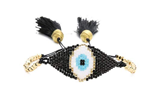 - Antique Bead Evil Eye Pattern Bracelets | Gold Tassel Bracelets | for Women | Beadwork Handmade Gift