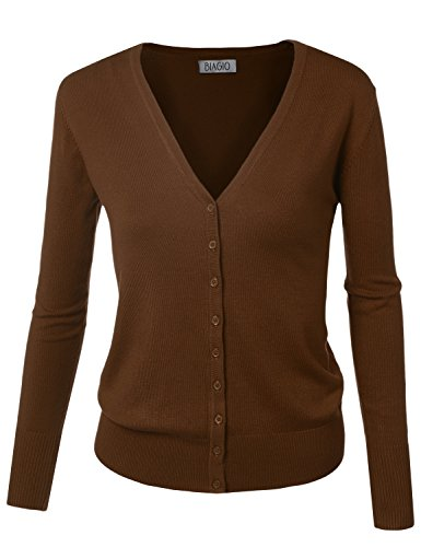 BIADANI Women Button Down Long Sleeve V-Neck Classic Knit Cardigan Sweater Mocha Large
