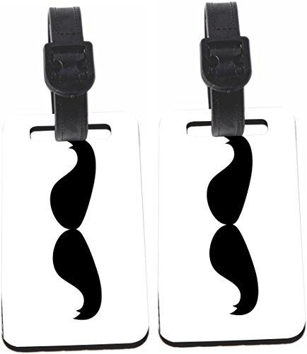 Rikki Knight Hercule Poirot Mustache Luggage Identifiers - with Strap (x 4) -