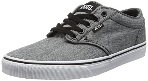 Grey Vans - Vans Men's Atwood Low-Top Sneakers, Grau (Rock Textile Black/White), 11 M