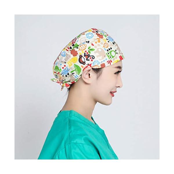 TENDYCOCO 1 Unid Algodón Mono Búho Correa Impresa Sombrero de Trabajo Quirófano Gorro Médico Gorro de Enfermera Sombrero… 12