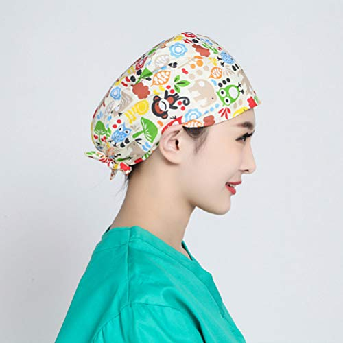 TENDYCOCO 1 Unid Algodón Mono Búho Correa Impresa Sombrero de Trabajo Quirófano Gorro Médico Gorro de Enfermera Sombrero para Médico Y Enfermera 11