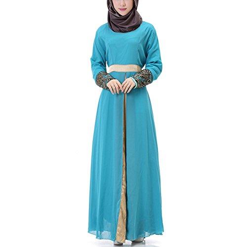hibote Mujeres musulmán islámica de manga larga vestido caftán abaya ropa de Oriente Medio de la gasa de Empalme Azul
