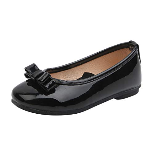 Mysky Fashion Toddler Infant Kids Baby Girls Classic Pure Color Bowknot Comfy Outdoor Party Single Princess Shoes Black ()