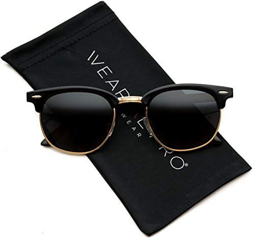 WearMe Pro - Classic Half Frame Polarized Semi-Rimless Rimmed Sunglasses Thick Black Frame / Gold Rimmed