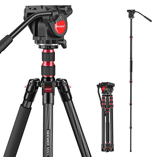 Neewer 2-in-1 N55CL Carbon Fiber Camera Tripod Monopod, Max.78.7inch/200cm Camera Video Tripod with 1/4 and 3/8 inch Screws Fluid Drag Pan Head for DSLR Cameras, Video Camcorders, Load up to 22 pounds