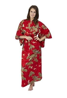 Beautiful Robes Women's Pines & Cranes Cotton Kimono Plus Size