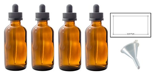 4 oz Amber Glass Boston Round Dropper Bottle (4 pack) + Funnel and Labels for essential oils, aromatherapy, e-liquid, food grade, bpa free (4 Ounce Amber Bottle)
