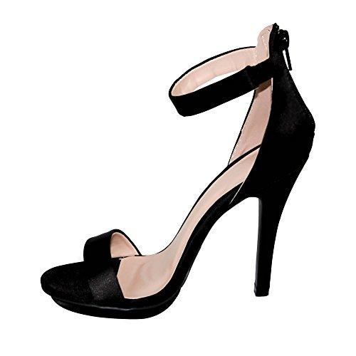 Strap Heel Ankle Toe Wild High Women's 01 Black Amy Diva Sandals Satin Open 4q861