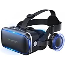 VR Headset, Virtual Reality Headset,VR Glasses,VR Goggles -for iPhone 7/ 7+/6s/6 +/6/5, Samsung Galaxy, Huawei, Google, Moto & All Android Smartphone With Headphones & Adjustable Eye Care System