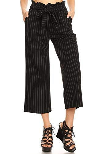 (ShoSho Womens Paper Bag Waist Cropped Pants Casual Wide Leg with Pockets Striped Print Black Small)