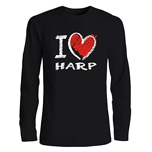 Idakoos I Love Harp Chalk Style Heart Musical Instrument Long Sleeve T-Shirt