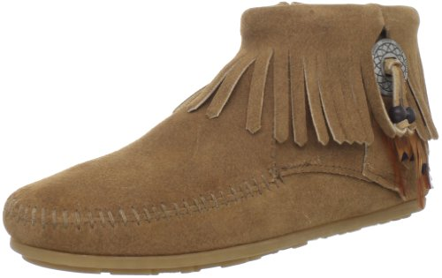Minnetonka Women's Concho/Feather Side Zip Boot,Taupe,6.5 M US (Womens Concho)