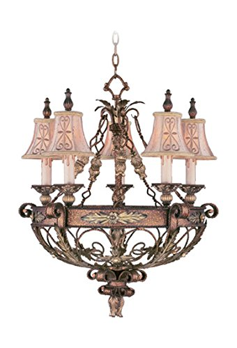 Palacial Bronze with Gilded Accents 5 Light 300W Chandelier with Candelabra Bulb Base and Hand Embroidered Shades/Decorative Finials Glass from Pamplona Series ()