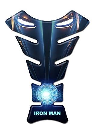 Protector de resina para tanque de moto Honda y Kawasaki Iron Man efecto 3D con dise/ño de superh/éroes/-/Compatible con Yamaha