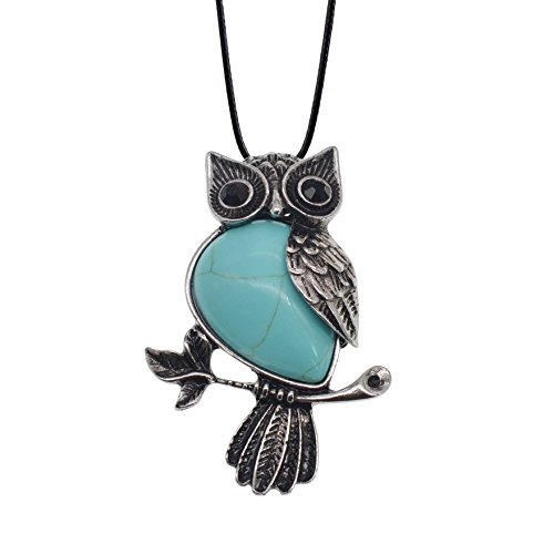 (ZHEPIN Owl Necklace Turquoise Healing Pendant Nekclace for Women Men Spiritual Energy Gemstone Necklace - 19)