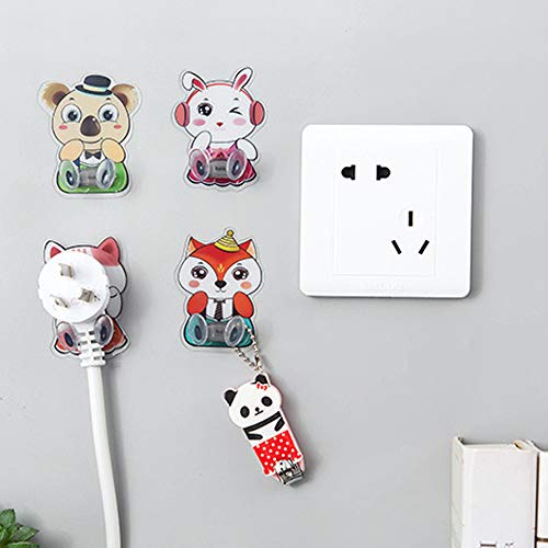 Wall Hook Coersd 4 PC Home Office Wall Adhesive Plastic Power Plug Socket Holder Creative Hanger