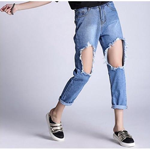 7bd136b1af145 WanYang Mujeres Skinny Jeans Rotos Pantalones Anchos Jeans Mujer Pantalones  Rotos Vaqueros Cintura Alta best