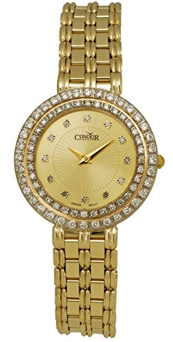 Condor 14kt Gold & Diamond Womens Luxury Swiss Watch Quartz CDRVCH 14kt Gold Ladys Wrist Watch