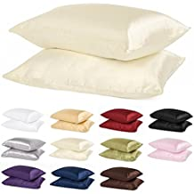 2pc New Queen/Standard Size Or King Size Silk~y Satin Pillow Case Multiple Colors By Orly's Dream. (Standard/Queen, Beige)