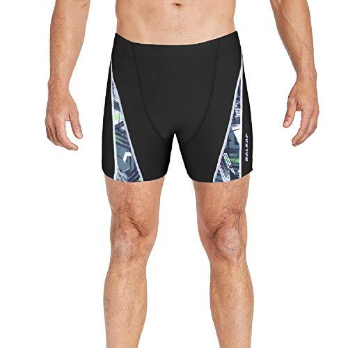 Baleaf Men's Athletic Quick Dry Compression Square Leg Boxer Shorts Jammer Swimsuit Black ()