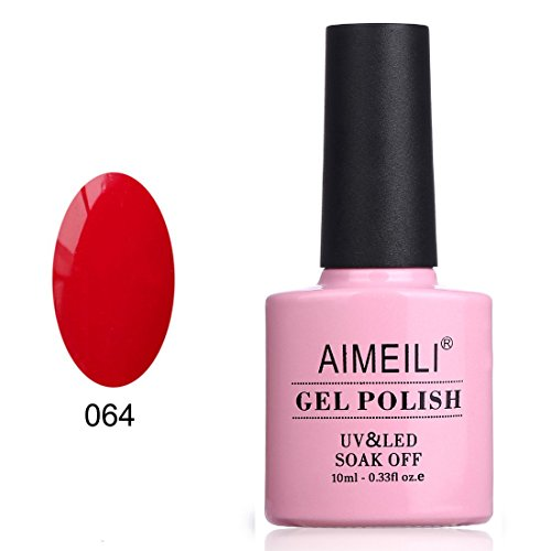 (AIMEILI Soak Off UV LED Gel Nail Polish - Pillar Box Red (064))