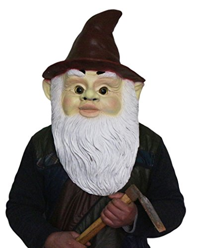 Gnome Wizard Dwarf Full Head Latex Mask,Realistic Old Man with White Beard Mask Grandpa Midget Costume