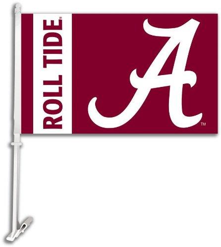 BSI NCAA Alabama Crimson Tide Car Flag Script A Logo with Free Wall Bracket (Alabama Flag Car Tide Crimson)