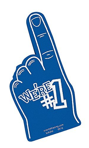 We're Number #1 Finger Team Color Cheerleading Foam Hand (Blue) Number 1 Foam