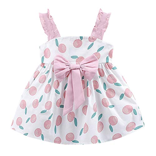 Kstare Toddler Kid Baby Girl Summer Fruit Printed Bowknot Casual Strap Elastic Beach Tutu Skirt 1-6 Years Pink