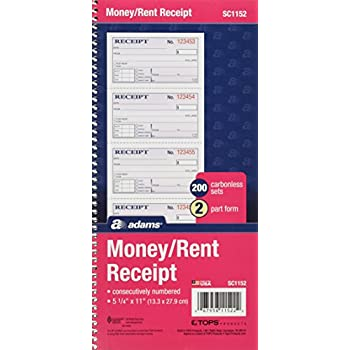Image of Money & Rent Receipts Adams Money and Rent Receipt Book, 2-Part Carbonless, 5-1/4' x 11', Spiral Bound, 200 Sets per Book, 4 Receipts per Page (SC1152) (Pack of 25)