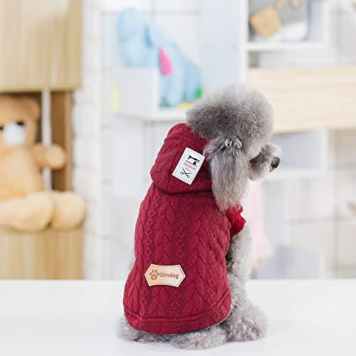 LanTa PetSuppliesMisc Nuovo Gilet in Cotone Jacquard Tricolore Teddy Teddy Teddy VIP Pet con Cappello Autunno e Inverno Vestiti per Cani (Colore   Burgundy, Dimensione   L) 458cc4