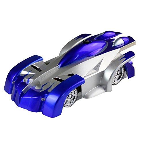 ラジコンカー ウォールラウンダー 壁・天井・床 激走ラジコンカー おもちゃ RCカー リモコンカー WALL ROUNDER LED搭載 吸着 簡単操作 クリスマス プレゼント 趣味(ブルー)