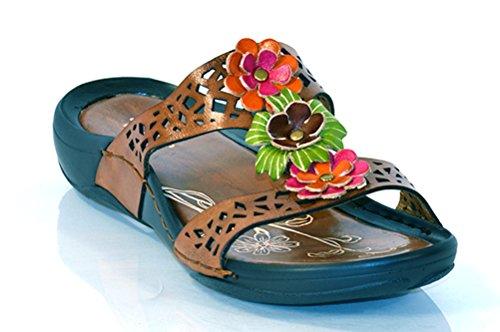 Via Veneto Genom Avanti Kvinna Läder Carol Slide Sandaler