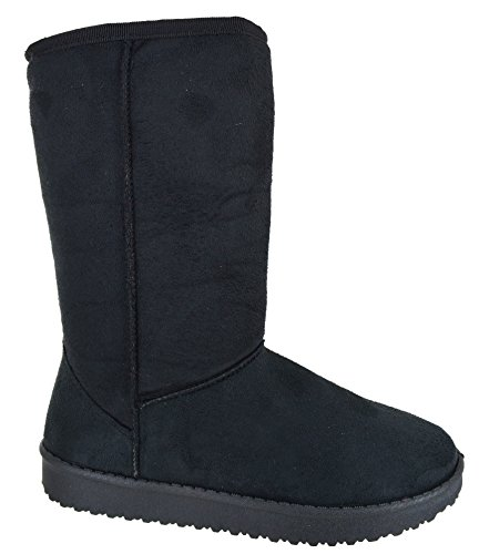 EYESONTOES Ladies Womens Mid Calf Warm Winter Fur Lined Snugg Hug Grip Sole Boots Size 3-8 Black