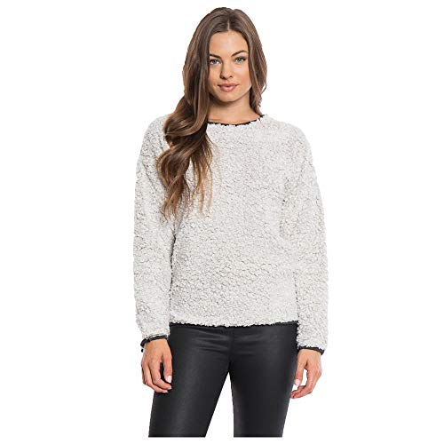 Dylan Women's Frosty Tipped Pile Drop Shoulder Crew Long Sleeve Top, Putty, Small (Top Putty)