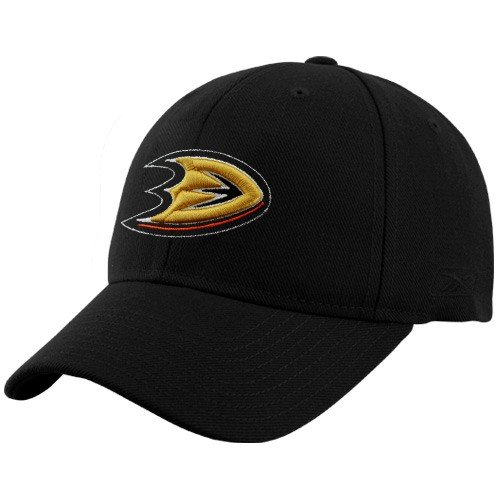 NHL Reebok Anaheim Ducks Black Basic Logo Wool Blend Adjustable Hat ()