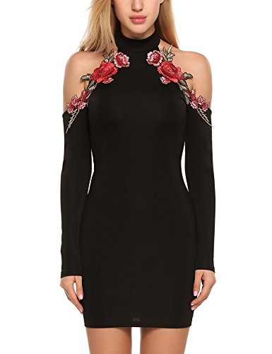 embroidered applique dress - 1