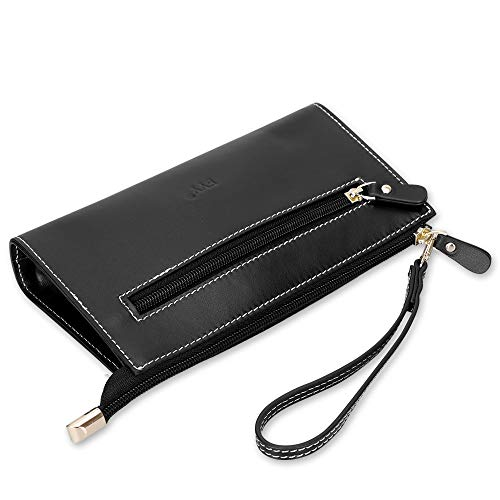 Pencil Bag Pen Case, FYY Handmade Luxury Cowhide Genuine Leather Pencil Pouch Pencil Holder with Hand Strap for Business School Office Travel Black