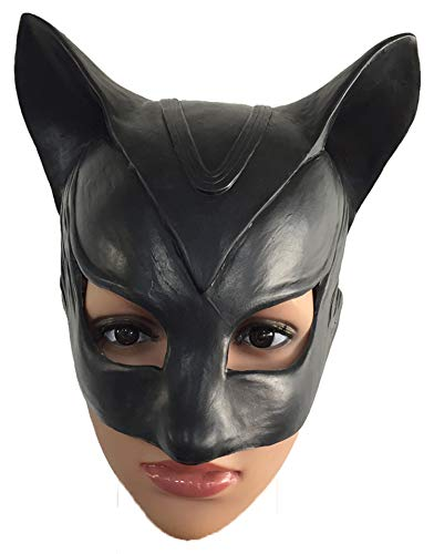 ZhangHD Catwoman Mask Cosplay Costume Latex Sexy Helmet Fancy Adult Halloween Headgear Black Half Face Mask ()