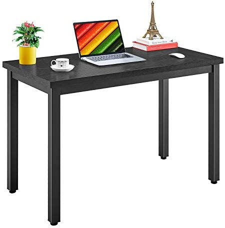 Mr IRONSTONE Computer Desk 47.2 , Modern Simple Style Working Studying Desk for Home Office, Heavy Duty Sturdy Writing Desk with Extra Thickened Frame Stronger Black Desktop Black