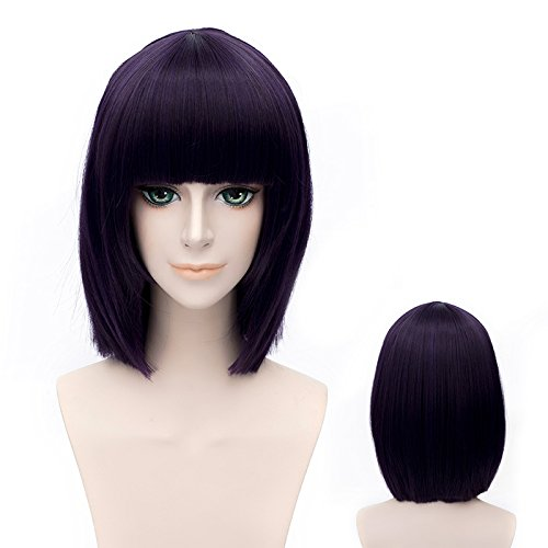 "Price comparison product image GOOACTION 12"" Short Black Purple Bob Straight Synthetic Hair with Bang Wigs GUNDAM Anime Tieria¡¤Erde Cosplay Costume Party Wig"