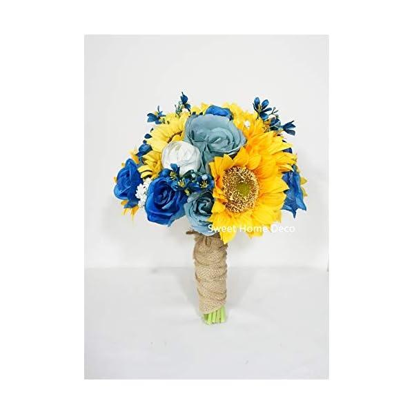 "Sweet Home Deco Silk Sunflower Rose Babysbreath Wedding Bouquet Bridal Bouquet Bridesmaid Bouquet Boutonnere in Yellow/Blue (Yellow/Blue-11""w Bouquet)"