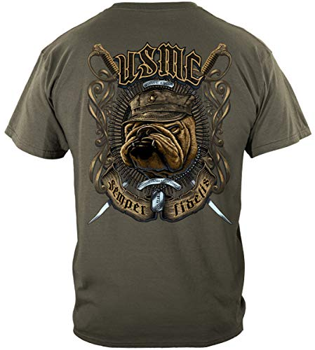 Erazor Bits Marine Corps Flags 3x5 Outdoor | USMC Bull Dog Crossed Swords Shirt ADD81-MM2268L