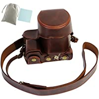 No.2 Warehouse New Style PU Leather Camera Case Bag With Shoulder Strap for Sony A6300 A6000 with 18-55mm lens (dark brown)+ a Piece of Clean Cloth